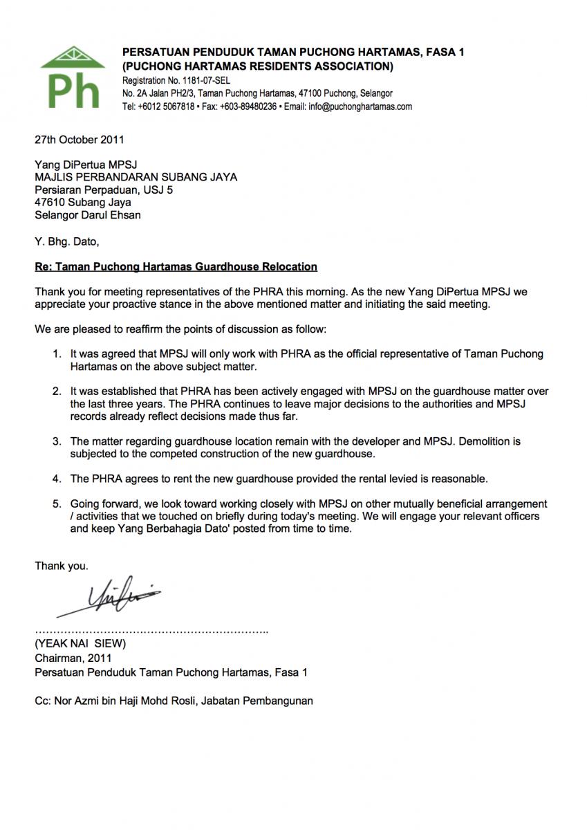 Letter To MPSJ YDP 2011